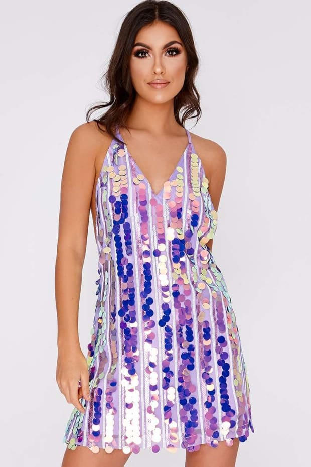 DAYSI LILAC IRIDESCENT SEQUIN DRESS