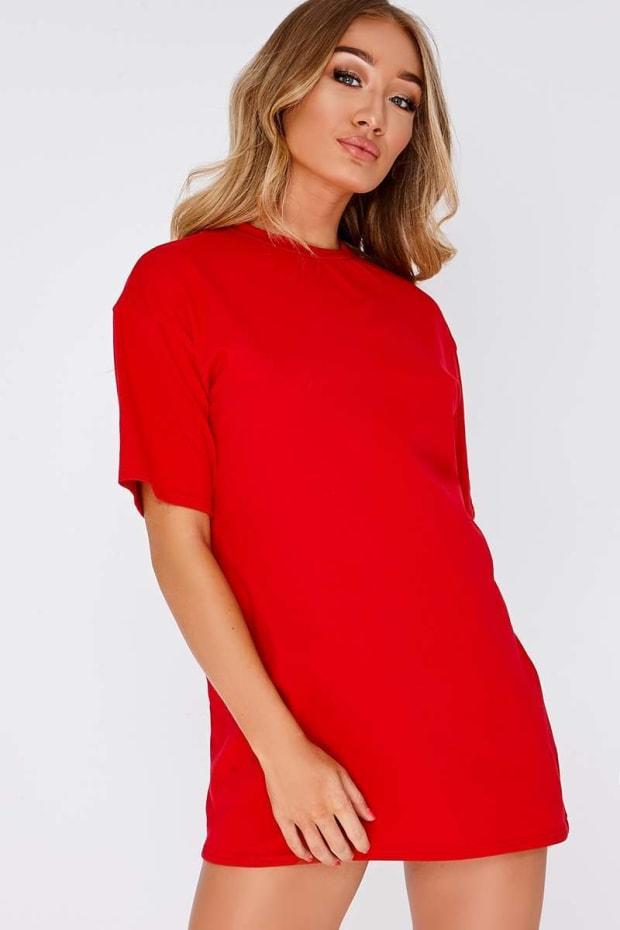 CYNDI RED BASIC T SHIRT DRESS