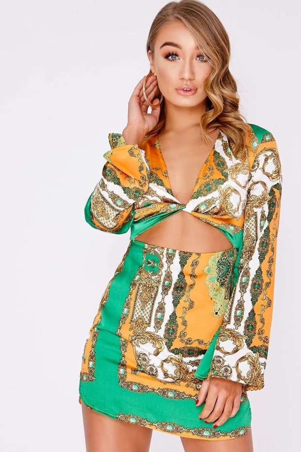 BRONTIE GREEN SCARF PRINT TWIST CUT OUT MINI DRESS