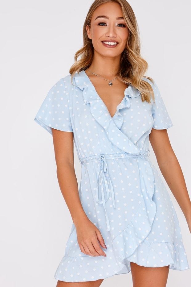 CAYLEA BLUE POLKA DOT FRILL WRAP DRESS