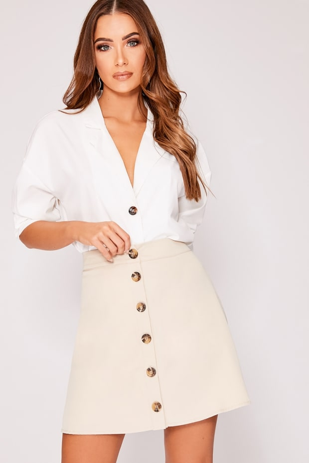 4670ad0674b5 Ovee Stone Button Front A Line Mini Skirt | In The Style Australia