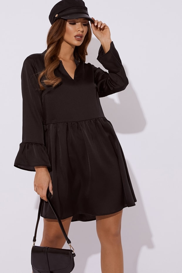 JULIETE BLACK SATIN PLUNGE SMOCK DRESS
