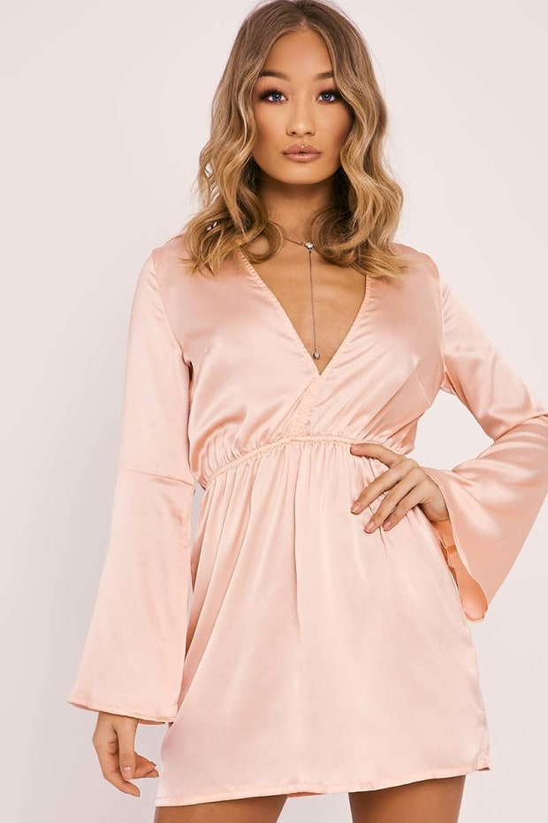 ETTA NUDE SATIN FLARED SLEEVE PLUNGE SKATER DRESS