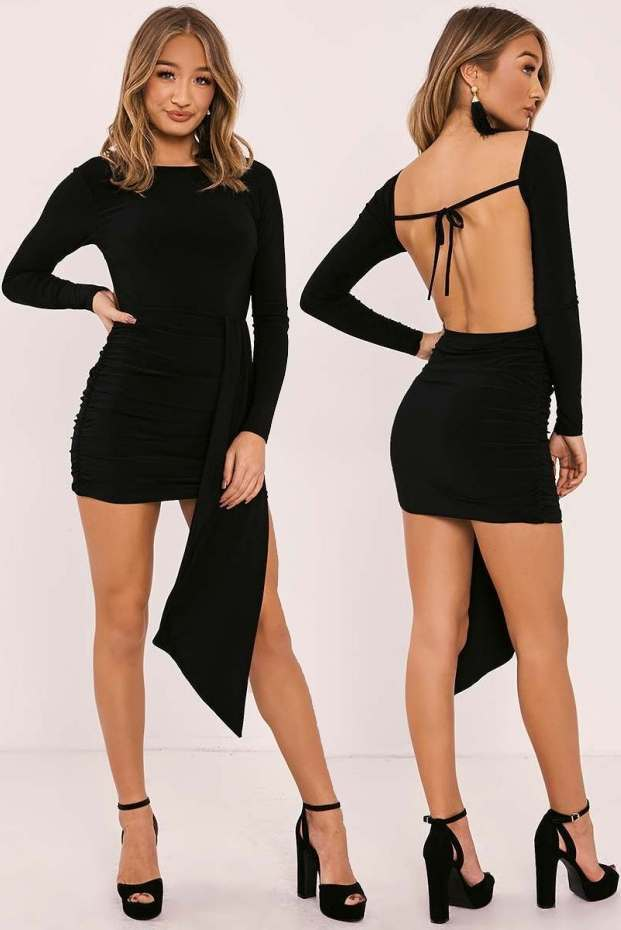 HAILEY BLACK SLINKY DRAPE FRONT BACKLESS MINI DRESS
