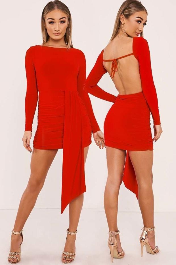 HAILEY RED SLINKY DRAPE FRONT BACKLESS MINI DRESS