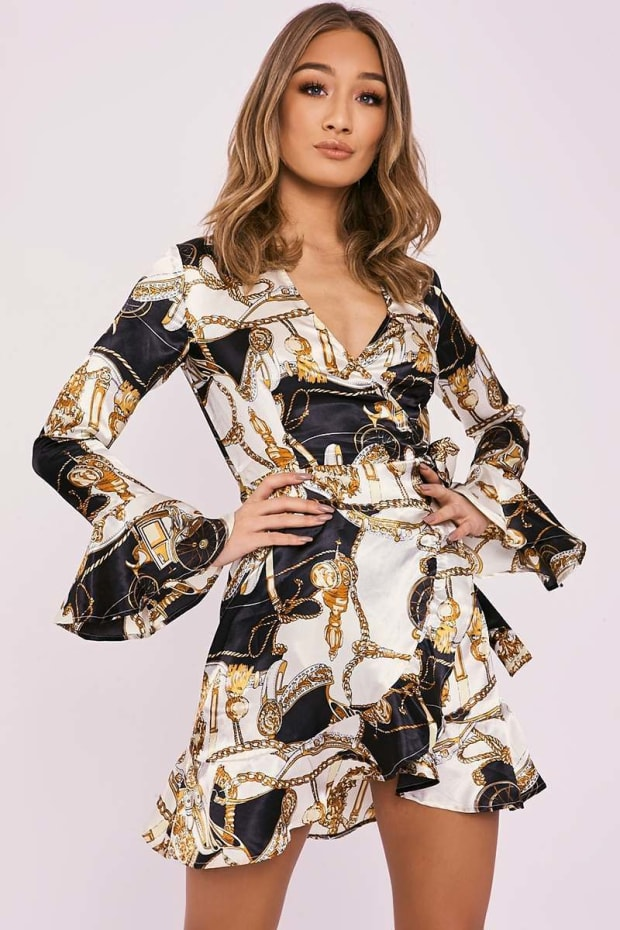 CHANTEL CHAIN PRINT WRAP OVER FRILL DRESS