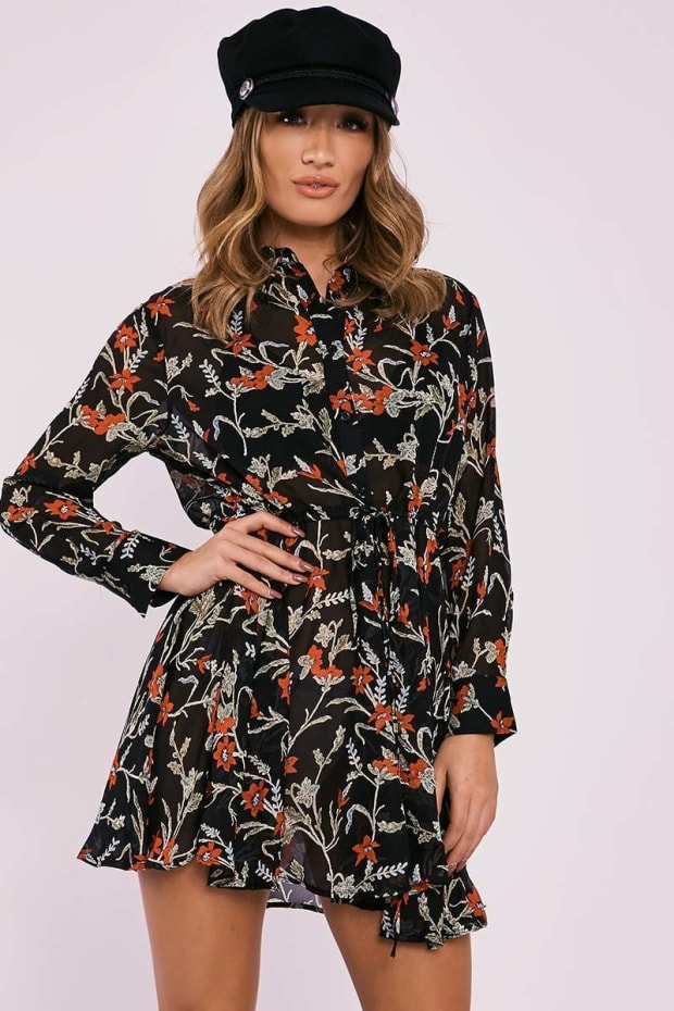ESSEX BLACK FLORAL SHEER RUCHED WAIST SHIRT DRESS