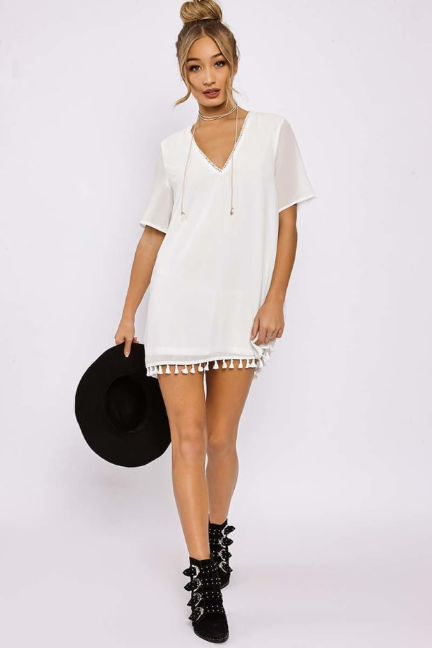 ESTELLA WHITE TASSLE TRIM SHIFT DRESS
