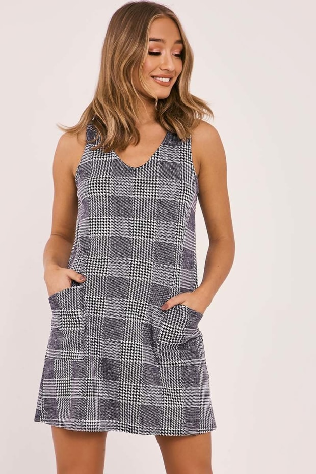 AILLY BLACK CHECKED POCKET FRONT MINI DRESS
