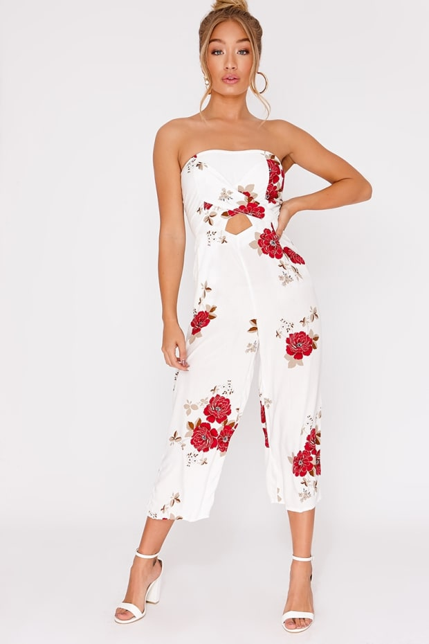 fef8d658c7f0 Our email address is  customerservices inthestyle.com. IRISS WHITE FLORAL  CUT OUT BANDEAU CULOTTE JUMPSUIT