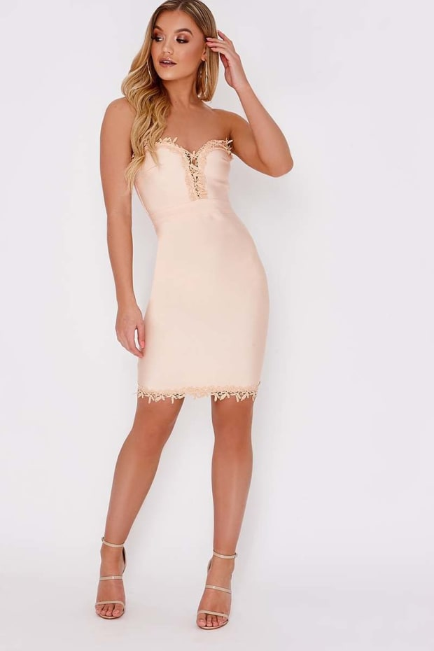KALANI PEACH CROCHET TRIM BODYCON BANDAGE DRESS