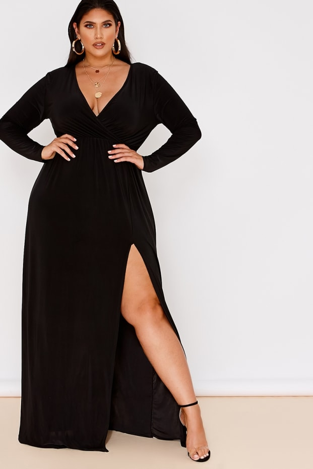 e48ce6d73402c Curve Latecia Black Slinky Wrap Front Maxi Dress