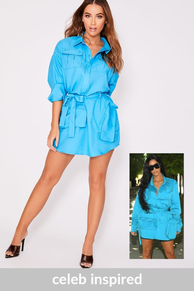 KYM BLUE MULTI POCKET UTILITY SHIRT DRESS
