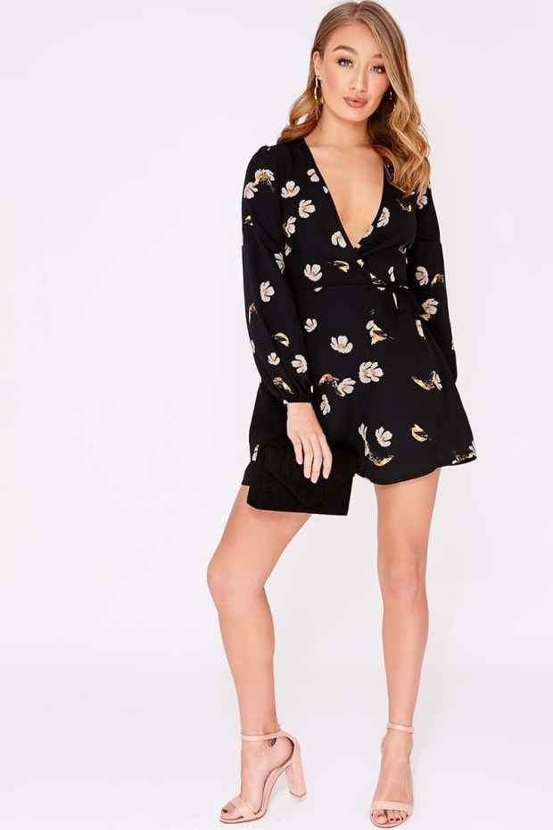 e74a7e0d551f2c Next. may we suggest. image of JEANNISE BLACK FLORAL SATIN TWIST FRONT CROP  TOP ...