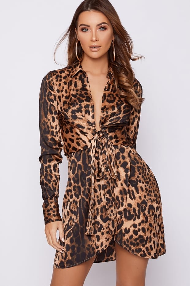 GREYSON BROWN LEOPARD PRINT TIE FRONT SATIN SHIRT DRESS