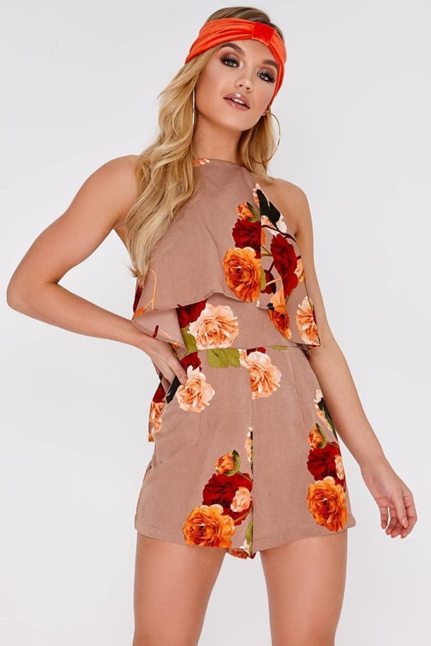 REIS BEIGE FLORAL LAYERED PLAYSUIT