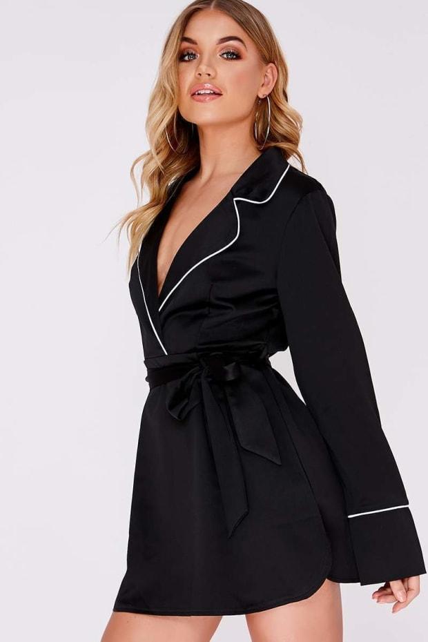CIANA BLACK SATIN CONTRAST PIPED SHIRT DRESS