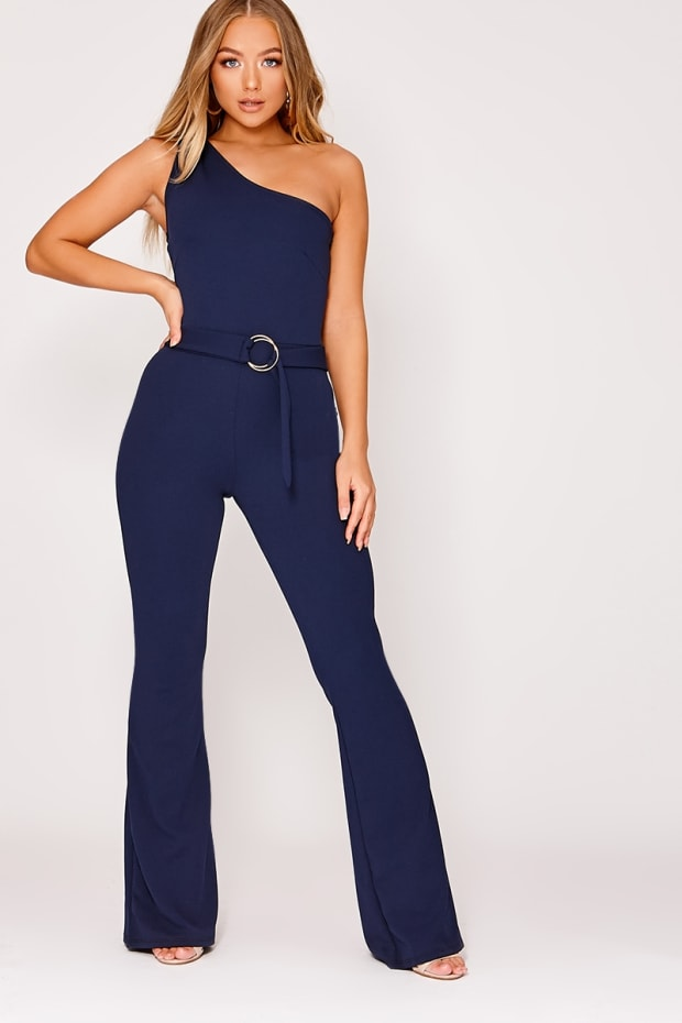 8c1702f90bbc1 Billie Faiers Navy One Shoulder Ring Detail Palazzo Jumpsuit