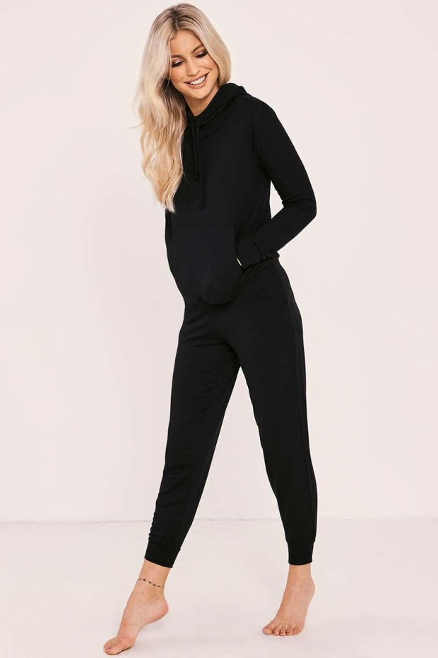 FALLYN BLACK HOODED LOUNGEWEAR SET