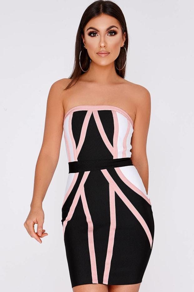 CHIYA BLACK CONTRAST STRAPLESS BANDAGE DRESS