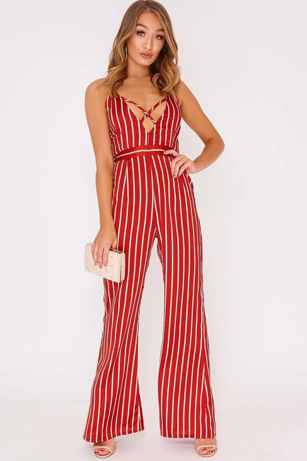 RONNIE RED STRIPE SATIN CROSS FRONT PALAZZO JUMPSUIT