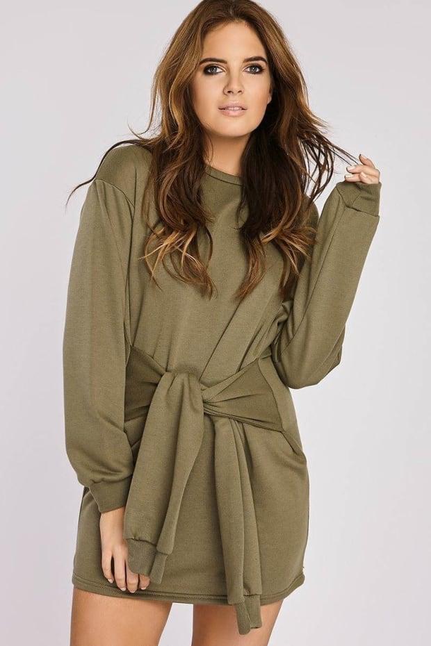 Binky Khaki Tie Front Sweater Dress