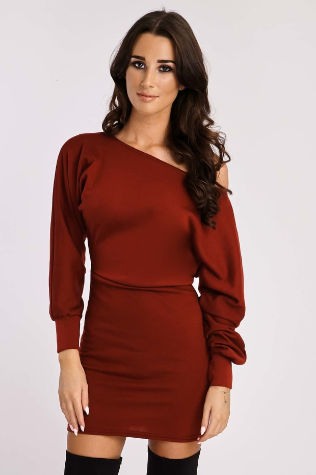 PARKER WINE OFF SHOULDER SWEATER DRESS