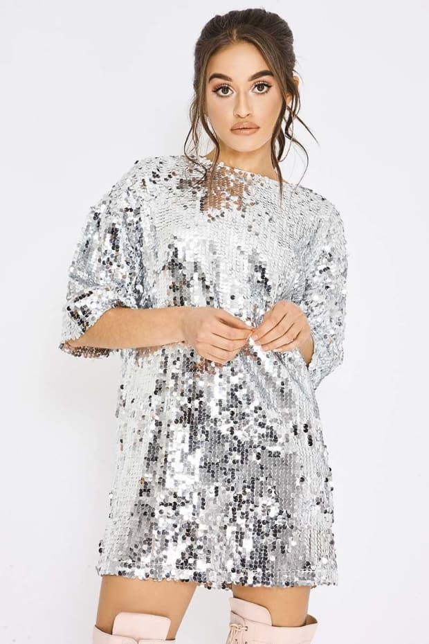 919629f944397 Pia Mia Silver Sequin Oversized T Shirt Dress