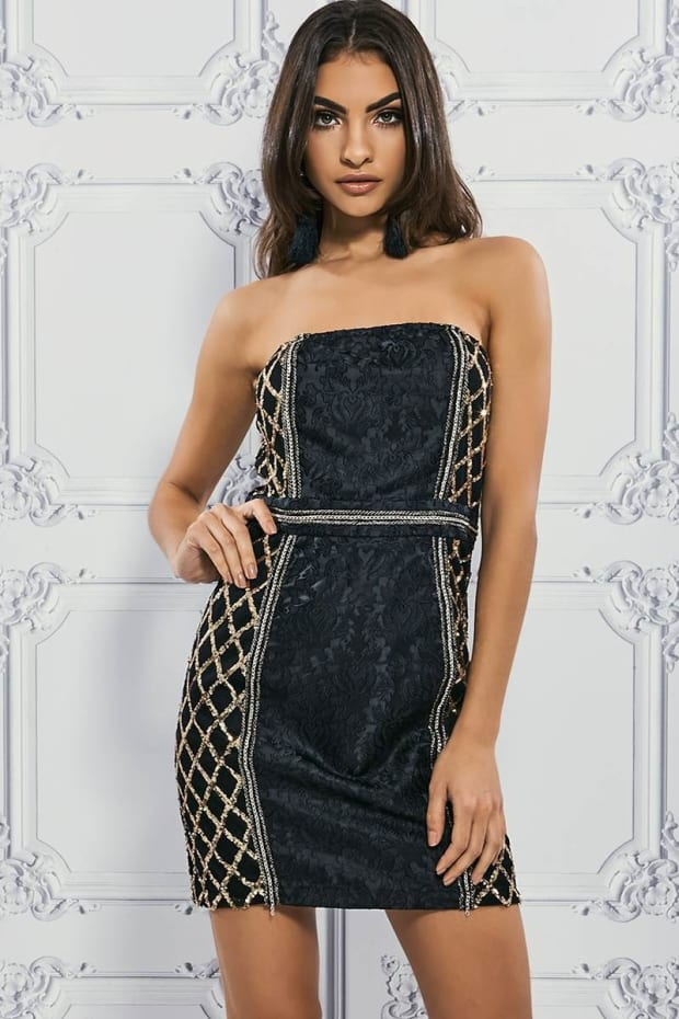 PREMIUM BLACK BROCADE BANDEAU SEQUIN LATTICE MINI DRESS