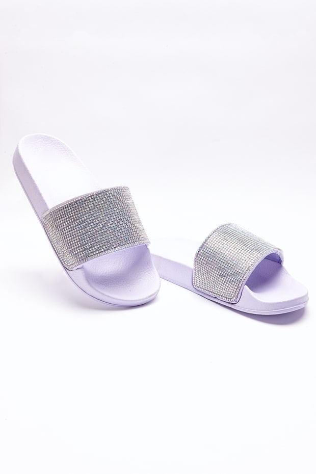 SABIA LILAC HOLOGRAPHIC DIAMANTE SLIDERS