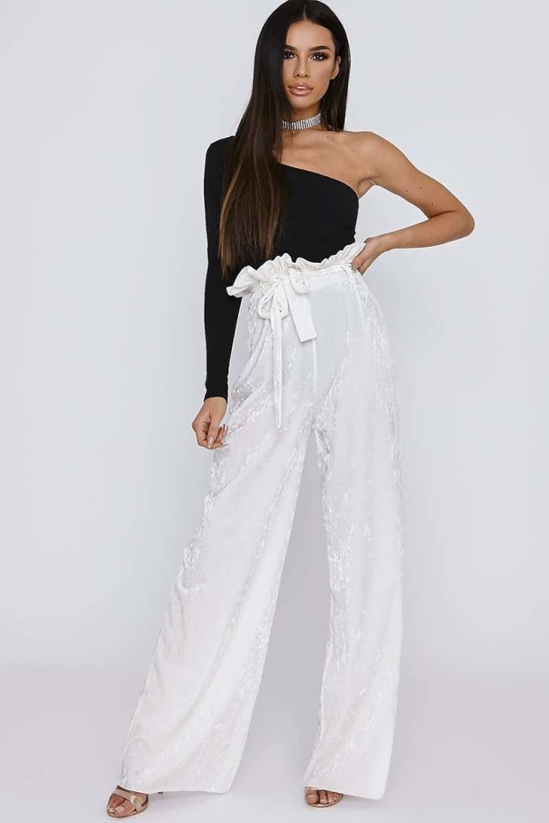 SARAH ASHCROFT TALL WHITE CRUSHED VELVET PAPERBAG WAIST TROUSERS
