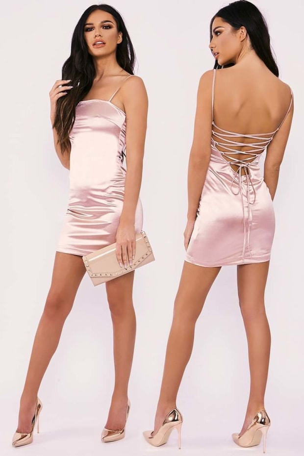 Pink Satin Dress