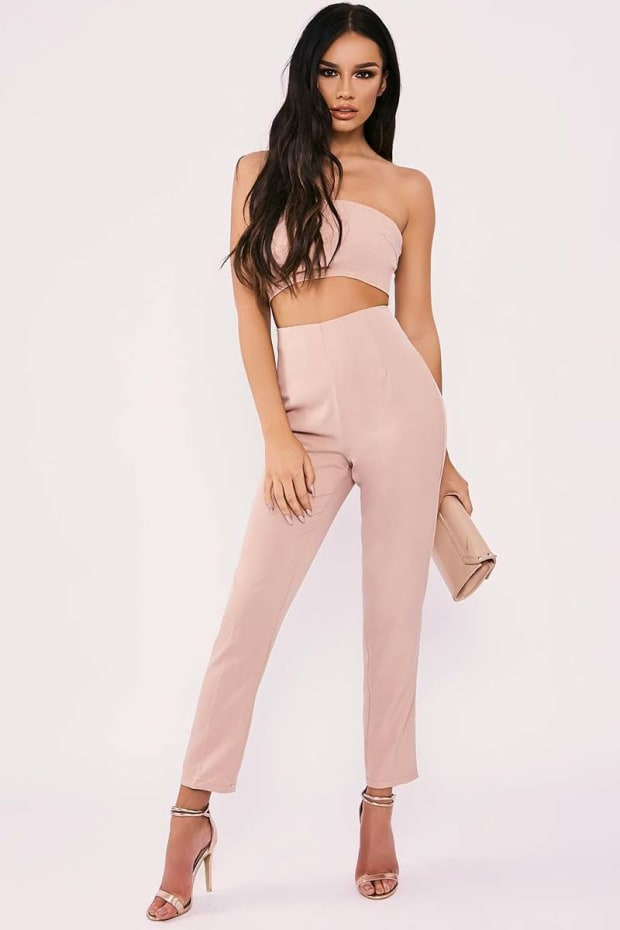 SARAH ASHCROFT NUDE STRAPLESS CUT OUT FRONT TAILORED JUMPSUIT
