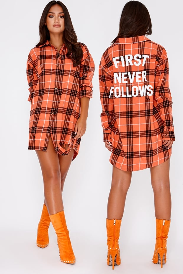 SARAH ASHCROFT ORANGE FIRST NEVER FOLLOWS SLOGAN OVERSIZED CHECKED SHIRT