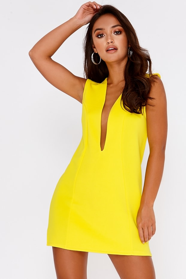SARAH ASHCROFT YELLOW PLUNGE MINI DRESS