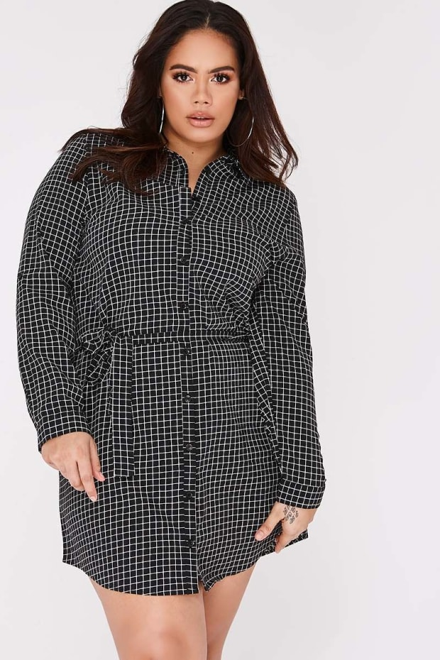 CURVE LENNIX BLACK GRID PRINT TIE WAIST SHIRT DRESS