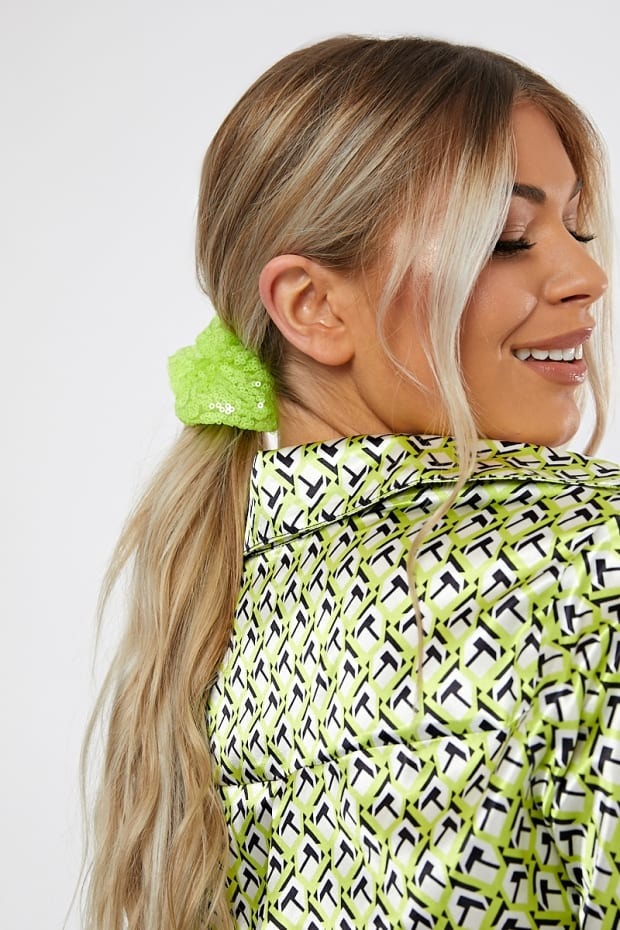 NEON GREEN SEQUIN SCRUNCHIE