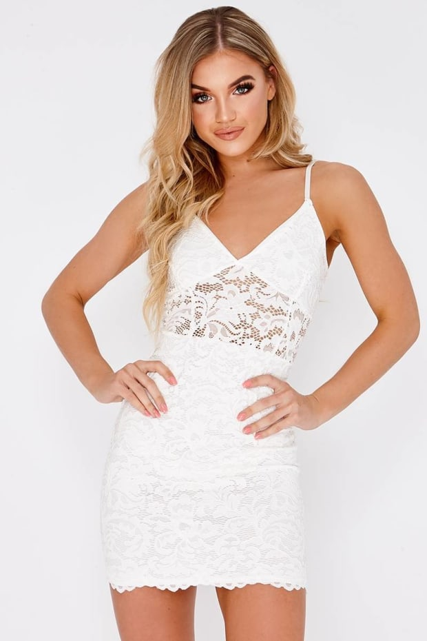 FRONIE WHITE LACE PLUNGE MINI DRESS