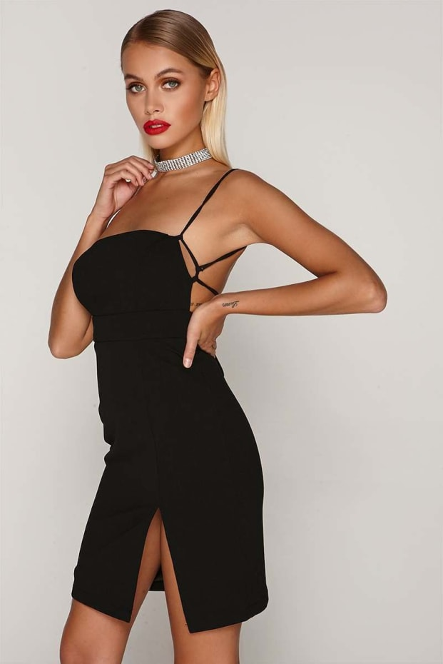 Tammu Back: Tammy Hembrow Black Square Neck Thigh Split Dress