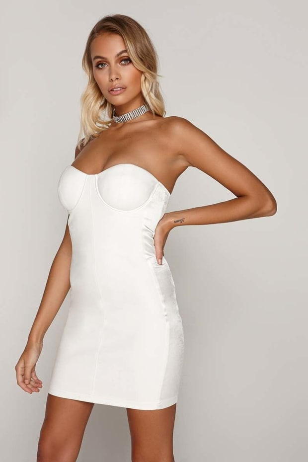 TAMMY HEMBROW WHITE SUEDE SATIN SIDE PANEL BANDEAU DRESS