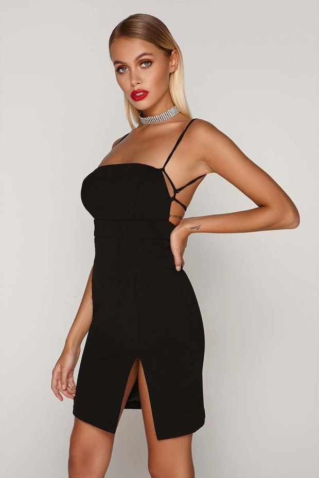 TAMMY HEMBROW BLACK SQUARE NECK THIGH SPLIT DRESS