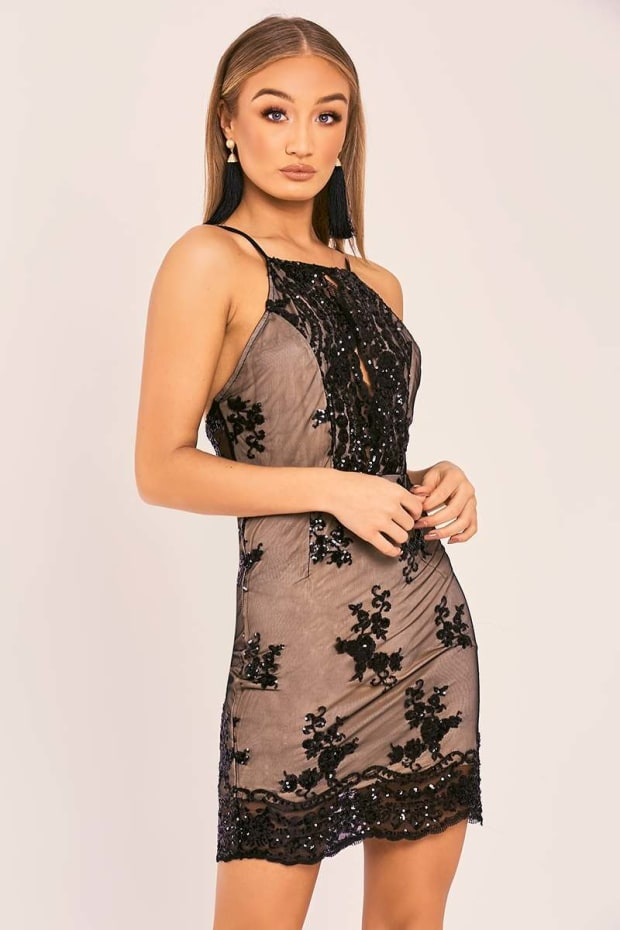 BAILA BLACK FLORAL SEQUIN HALTERNECK MINI DRESS
