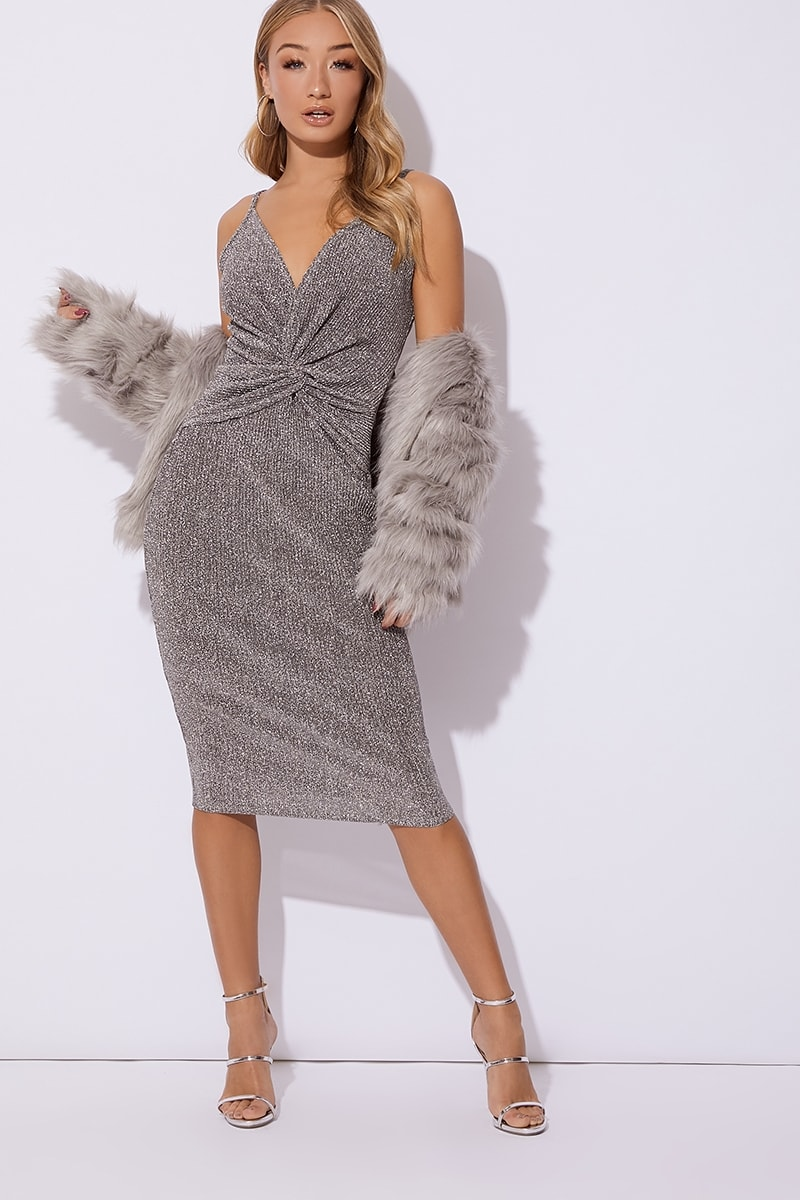 3556d9e5ce Adisyn Silver Glitter Plunge Twist Front Midi Dress