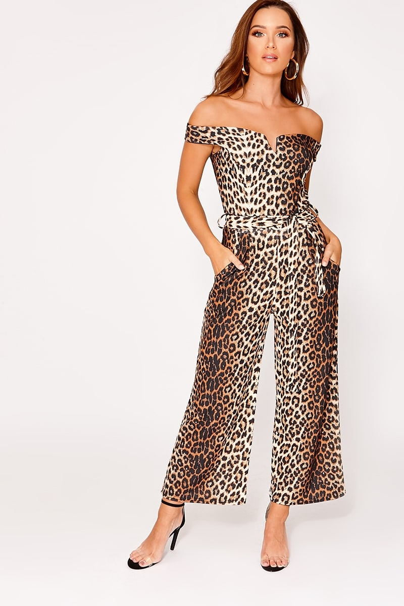 26c0ab2ef64 Alisa Tan Leopard Print Bardot Culotte Jumpsuit
