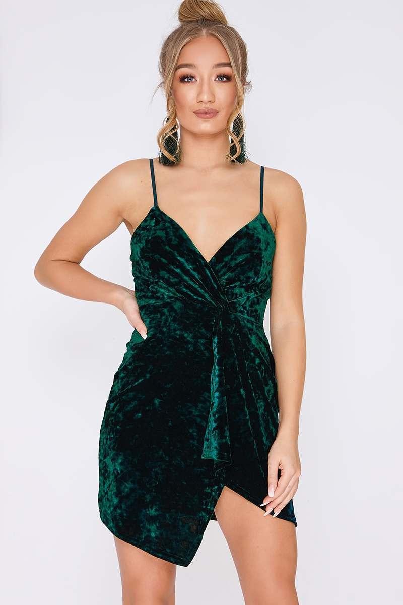 e9c1219335 Dayja Green Crushed Velvet Plunge Wrap Over Mini Dress