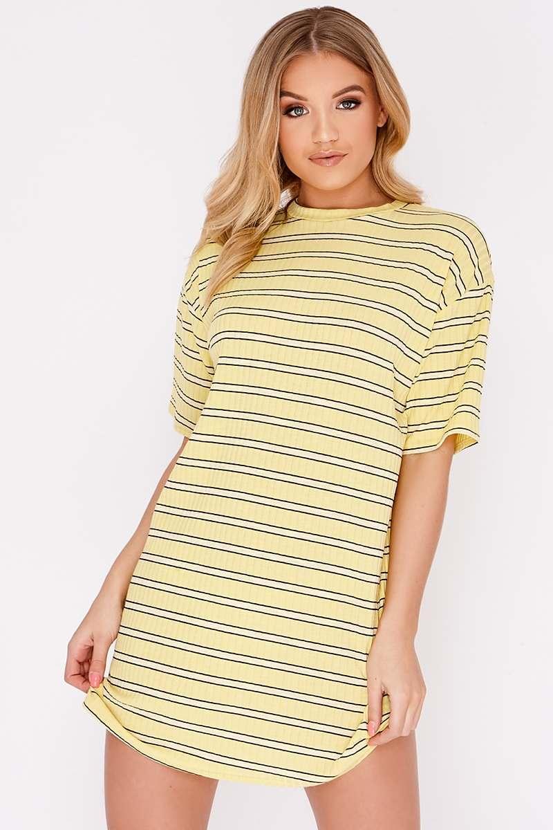 Cacia Yellow Stripe Oversized T Shirt Dress  5c8753025