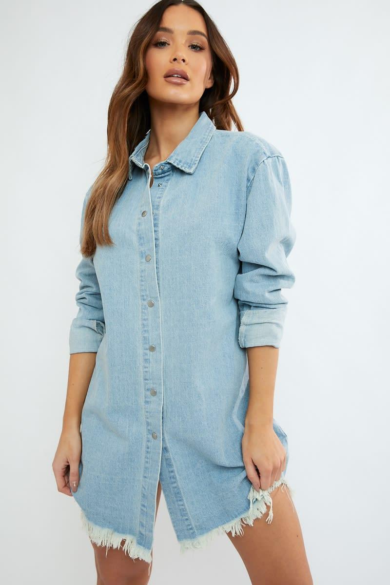 5c922f4631171 Jumanji Washed Blue Frayed Hem Denim Oversized Shirt Dress