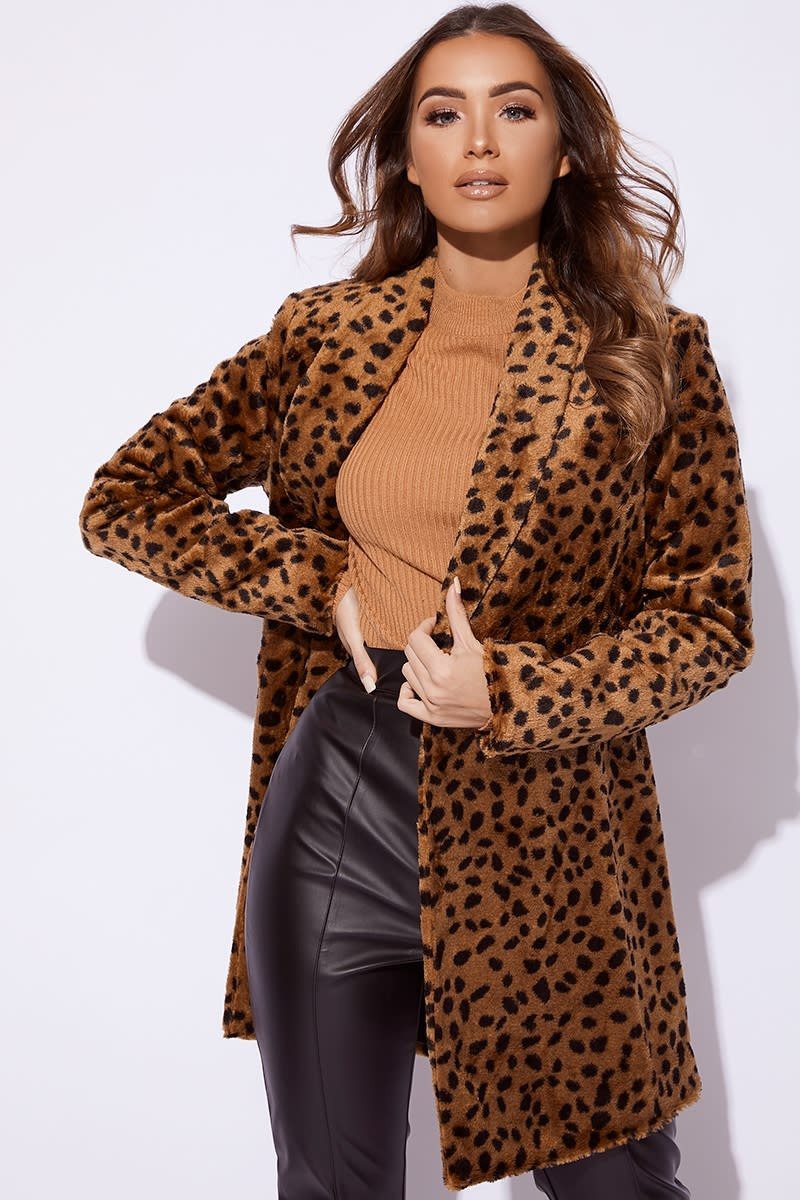 02cb2d48a96 Billie Faiers Brown Leopard Print Faux Fur Coat