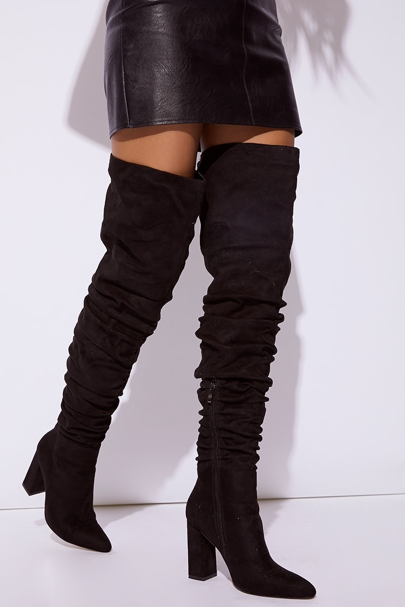 1321ebc47c2 Rimia Black Faux Suede Ruched Over The Knee Boots