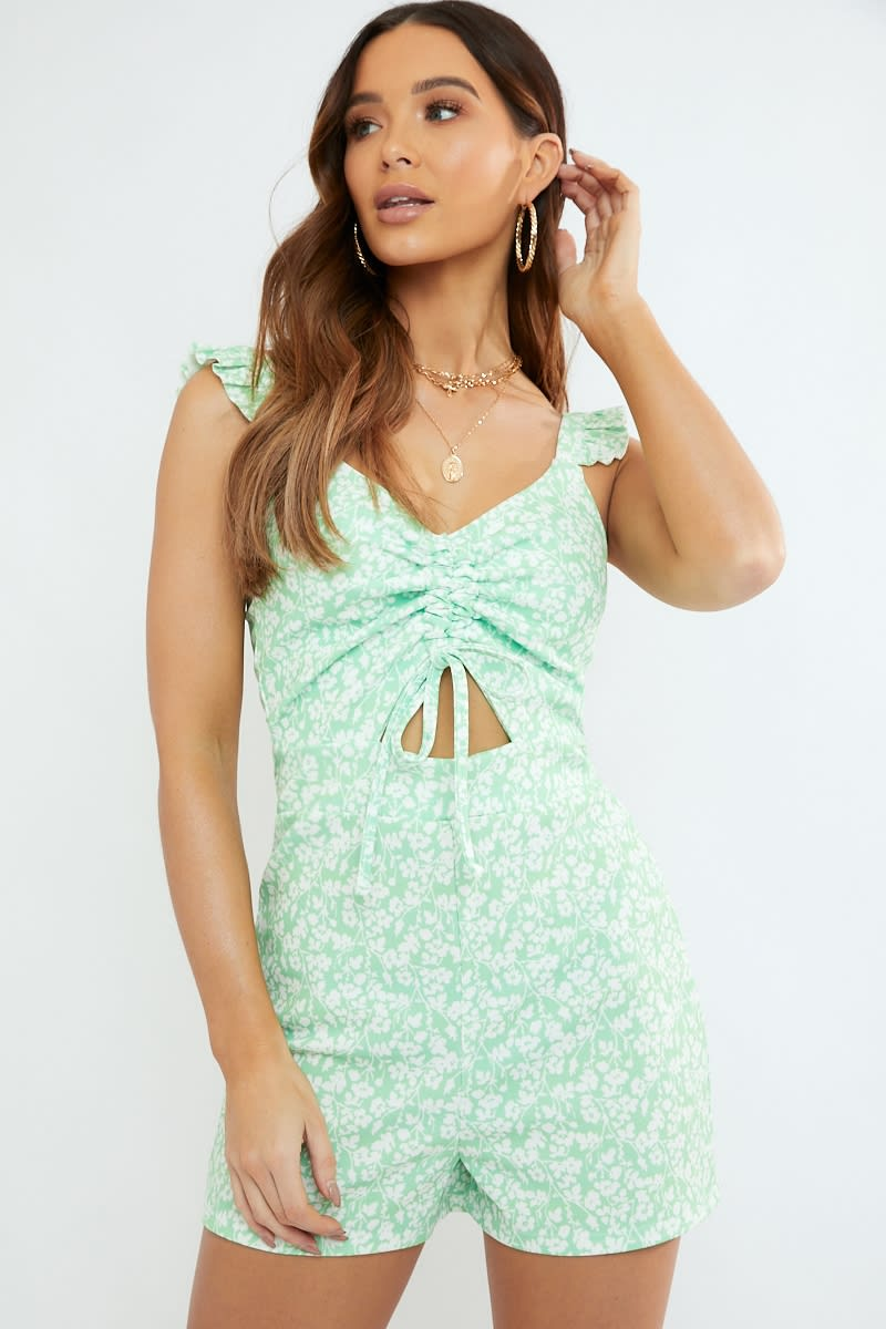 ad60150dc04 Prentis Sage Ditsy Floral Print Ruffle Cut Out Playsuit